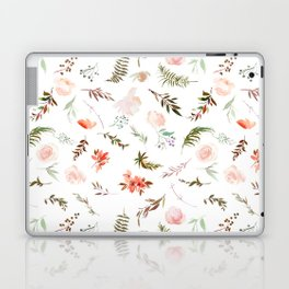 Coral pink green watercolor hand painted floral Laptop & iPad Skin