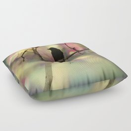 Crow Dreams In Colors Floor Pillow