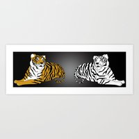 tigers Art Prints featuring Tigers by Christina Gulbrandsen