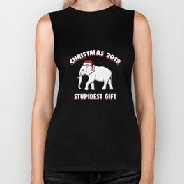 Funny Secret Santa White Elephant Christmas Xmas Apparel Biker Tank