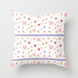 Blue red triangles coral pink seashells floral Throw Pillow