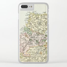 Scotland Vintage Map Clear iPhone Case