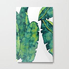 Watercolor Tropical Leaves, Palm Leaves in Green Color, Watercolor Banana Leaves Metal Print