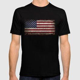 American Flag, Old Glory in dark worn grunge T-shirt