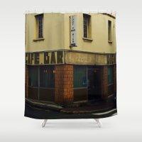 """60s Shower Curtains featuring Vintage Cafe Bar """"Tout va Bien"""" 60s  by Premium"""