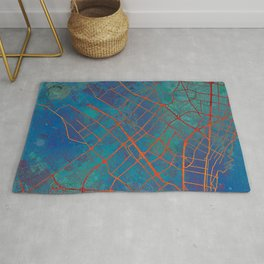 Bogota Colombia Street Map Art Watercolor Apocalyptic Blue Rug