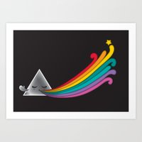dark side of the moon Art Prints featuring Dark Side by Inky Valentine