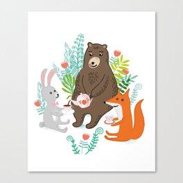 woodland tea party Canvas Print