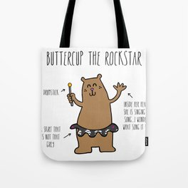 Buttercup the Rockstar Bear Tote Bag