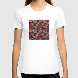 Bright Playful Flowers with Dark background T-shirt