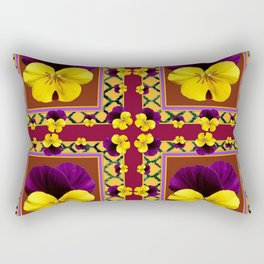 MAROON QUATREFOIL PURPLE & YELLOW SPRING PANSIES Rectangular Pillow