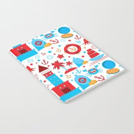 pattern with sea icons on white background. Seamless pattern. Red and blue Notebook
