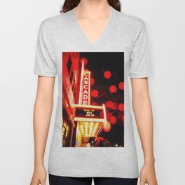 Rainy Night at the Theatre Market Street Redding California Unisex V-Neck