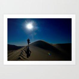 Walking on sand dunes Art Print