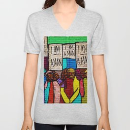 African American Masterpiece 'I Am A Man' Portrait Unisex V-Neck