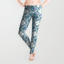 Thanksgiving Print - Blue White Leggings