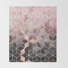 Pink And Grey Gradient Cubes Throw Blanket