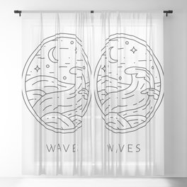 Night time simple lined waves design Sheer Curtain
