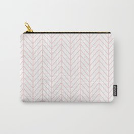 Pale Pink Herringbone Carry-All Pouch