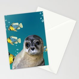 Sea Lion baby with fishes Stationery Cards