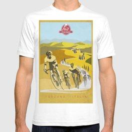 Strade Bianche retro cycling classic art T-shirt