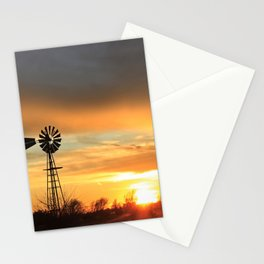 Colorful Kansas Sunset with a Windmill Silhouette. Stationery Cards