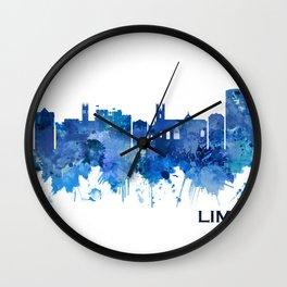 Limerick Ireland Skyline Blue Wall Clock
