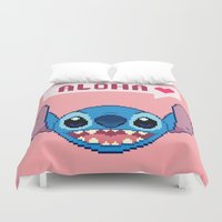 ohana Duvet Covers featuring Aloha! by FrankenPup