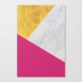 Carrara marble with gold and Pantone Pink Yarrow color Canvas Print