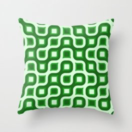 Truchet Modern Abstract Concentric Circle Pattern - Green Throw Pillow