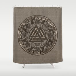 Valknut Symbol - Beige Leather and gold Shower Curtain