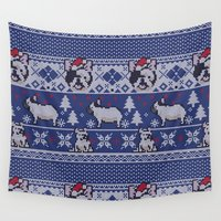frenchie Wall Tapestries featuring Christmas Frenchie by Huebucket