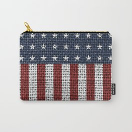 USA American Flag Rustic Jute Style Carry-All Pouch