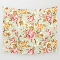 antique Wall Tapestries featuring Antique Blooms by Beautiful Revelry