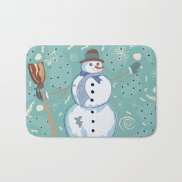 Happy Character of Snowman on a cute winter background with doodles Bath Mat