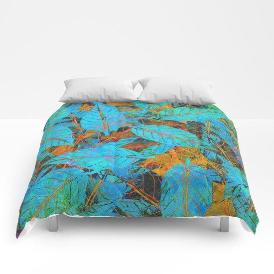 Blue & Orange Leaves Comforters
