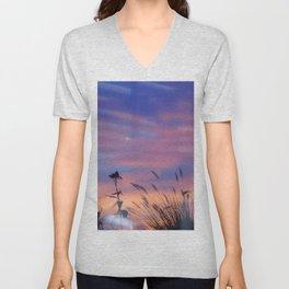 LOOK OUTSIDE - Flowers & Sunset #1 #art #society6 Unisex V-Neck