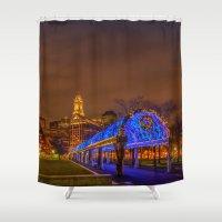 christopher walken Shower Curtains featuring Boston, Christopher Columbus Waterfront Park by LudaNayvelt
