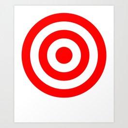 Bullseye Target Red & White Shooting Rings Art Print