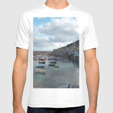 Mousehole, Cornwall Mens Fitted Tee MEDIUM White