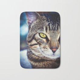 Bengal Tom Tabby Cat Portrait Bath Mat