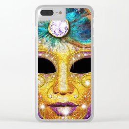 Golden Carnival Mask Clear iPhone Case