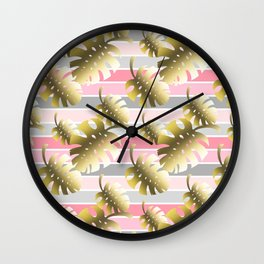 Tropical gold cheese leaves pastel color stripes Wall Clock