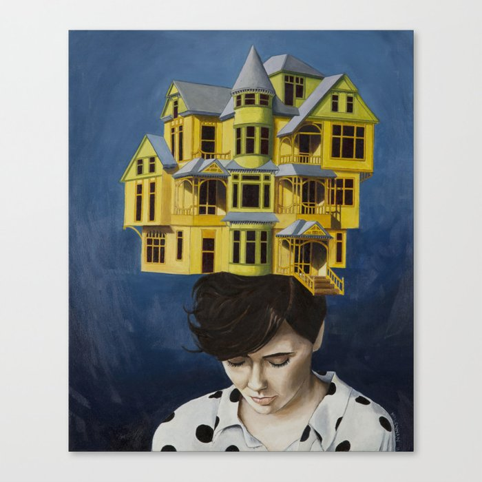 Women with house on her head Canvas Print