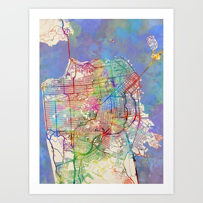 San Francisco City Street Map Art Print by artpause on porterville city street map, springfield city street map, irvine city street map, san pablo city street map, santa clara county street map, jackson city street map, austin city street map, tacoma city street map, medford city street map, aurora city street map, snohomish city street map, wichita city street map, new haven city street map, inglewood city street map, ithaca city street map, napa city street map, flagstaff city street map, johannesburg city street map, billings city street map, madison city street map,