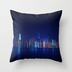 Miami Skyline Abstract Throw Pillow
