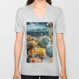 Colorful Stones And Running Bubbling Water Unisex V-Neck
