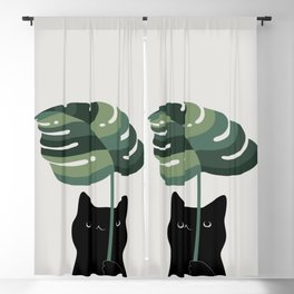 Cat and Plant 16 Blackout Curtain