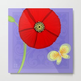 P is for Poppy Metal Print