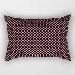Black and Desert Rose Polka Dots Rectangular Pillow